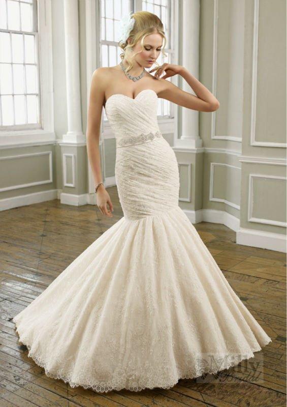 Satin Fishtail Wedding Dress : Sexy stunning fit ivory tulle satin sweetheart corset