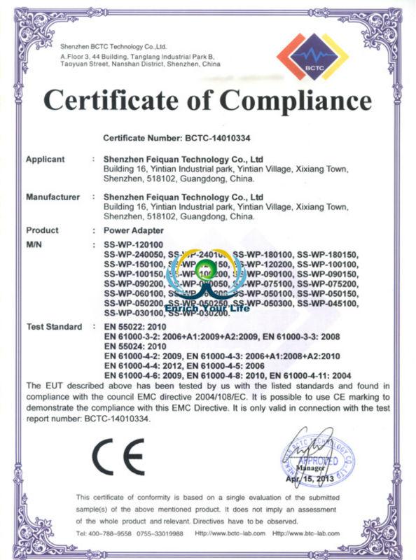 Shenzhen Speed Sources Technology Co., Ltd. CE EMC Certification Power Adapter