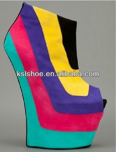 New arrival no heels colorful wedge ankle boots peep toe wedge pumps woman