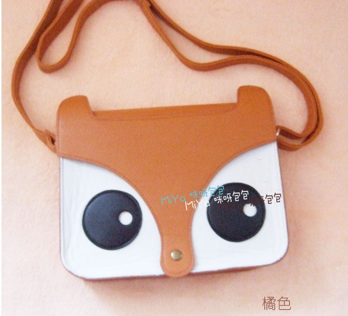Free shipping lovely fox cartoon faux leather cross body shoulder bag handbag