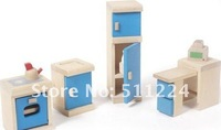 Free shipping! Wooden Mini Furniture - Blue Kitchen toy ,Wooden Children learning Toys, birthday gift, Education kid toy