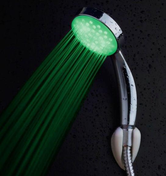 Ванная комната Светодиодный контроль температуры 3 цвета (красный синий зеленый) светится, ручной душ Бесплатная доставка
