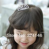 Ювелирное украшение для волос ree shipping 6pcs/lot shiny silver crystal shiny charming children tiara nice Crown Princess headwear