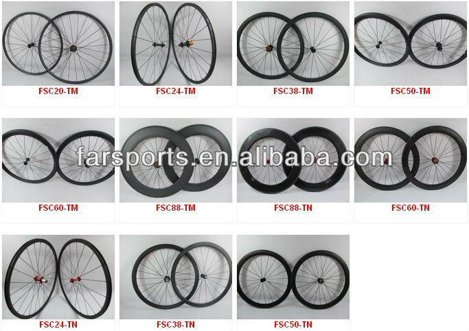New U-shape, Farsports full carbon 50mm clincher wheels, 25mm wide