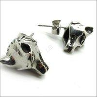 много мужчин серебро моды пара Хооп волк linewinder серьги ухо шпильки цепи нержавеющая сталь 316l