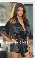 2013 Fashion Black Satin Black Sexy Lingerie Costume Pajamas underwear Sleepwear Robe and G-String free shopping