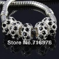 Разделители для браслетов 50PCs Silver Plated Black Rhinestone Spacers Beads Fit Charm Bracelets 10x6mm