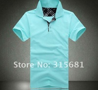 Мужская футболка COTTON B men's polo t shirt summer BLUE Short sleeve polo t shirt drop shipping