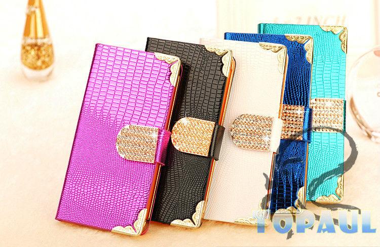 Luxury crocodile leather crystal diamond case for iphone 5
