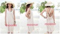 Женская туника для пляжа Women Halterneck Vest Loose Long Dresses Beachwear Bikini Overall Holidays Swim E0459