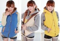 Женский жилет 2013 Women Autumn And Winter Fashion With a Hood Cotton Vest Casual Waistcoat All-match Vest Blue Yellow Khaki