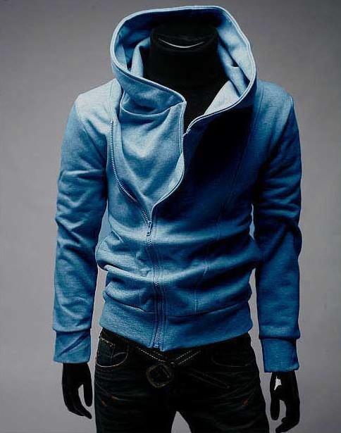casaco azul gola alta