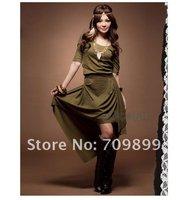 Autumn Green Bohemian Style Women Pleated Round Neck Midi Irregular Design Dress Casual E0324