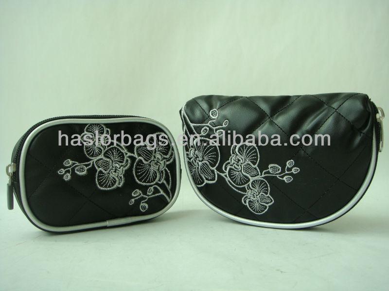 Hot vente noir couleur PU Lether fleur bourse