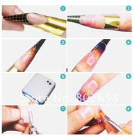 Free Shipping (5Rollsl/Lot)   Nail Art Forms Of Golden Color For Acrylic UV Gel Nail Tip Extension With 500pcs/roll