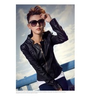 free shipping spring and autumn New arrival women casual faux leather jacket/outwear fashion design lady long adjsut sleeve.F021