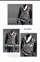 Мужской пуловер The Korean version of leopard coat men's sweaters polo cardigan sweater for men fashion cashmere