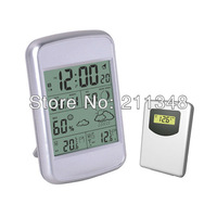 Free Shipping!!! RF Wireless Indoor / Outdoor Weather Station Alarm Clock with Blue backlight #TF407