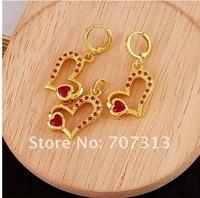 fashion jewelry set women 18k yellow gold filled heart zircon necklace earrings set jewelry gift jewellry set