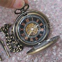 черный циферблат механический скелет карманные часы бронзовые тона