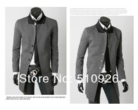 Free shipping 2012 Fashion mens silm long suit,classic fit Jacket Blazer,single breasted stand collar suit
