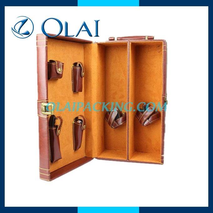 Opening Door Style Wooden Wine Box,Wood Wine Carrier