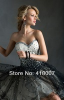 new cheap sexy strapless cocktail and party dresses with crystal sweetheart strap rhinestone black tulle