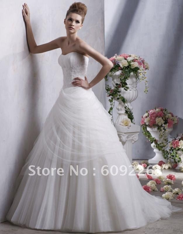 2012 Funky Custom-made Wide Straps Beading Stripe Gauze&Satin Sweep Train Designer Bridal Dresses
