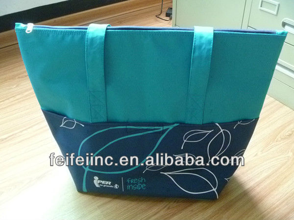 600D PU coating leaves printing outdoor cooler bag