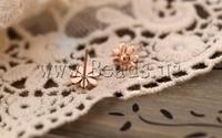 Серьги-гвоздики Zinc Alloy Stud Earring, Wedding Jewelry, Flower, rose gold color plated, nickel, lead & cadmium, 12mm
