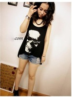 Женская футболка T shirts Skull Punk Singlet Dress Vintage Tank Pop Sexy Top long Tee T-Shirt