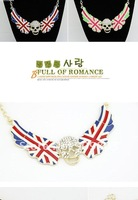 (Black)2012 New!Wholesale vintage chic alloy national flag crystal skull angle wing pendant necklace,vintage antique choker