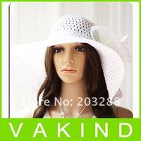 Новая мода женщин широкими полями дискеты складывать пляж солнце шляпа много цветов