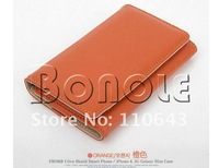 Чехол для для мобильных телефонов Holiday Sale! New Korea Fashion Deluxe PU Leather Pouch Protector Wallet Case Cover for iPhone 4 4S Orange