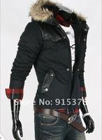 KOREAN MEN LEATHER STITCHING THICK WARM COTTON HOODED JACKET PARKA WARM JACKET WINTER OVERCOAT WINDSTOP+ FREE SHIPPING (1PC) 112