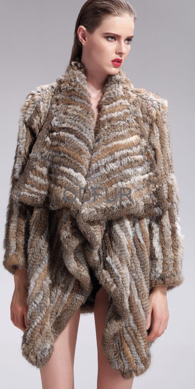 2017 Wholesale Lady Genuine Knitted Rabbit Fur Coat Jacket Winter