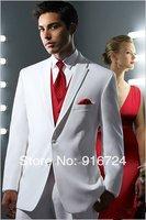 Продажа белых одной грудью жених одевает пиджак + Брюки + жилет красный