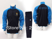 Manchester  blue sports coat & trousers suit,football soccer uniforms kit outerwear clothings,soccer training suit