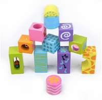 Детское лего Wooden building blocks toy Music toy bricks 12 tablets will ring Wooden children bell building blocks Wooden toys
