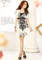 118009 Free Shipping Women Fashion Sexy V Neck Asymmetry Totem Pattern Causel Mini Dress Retail & Wholesale