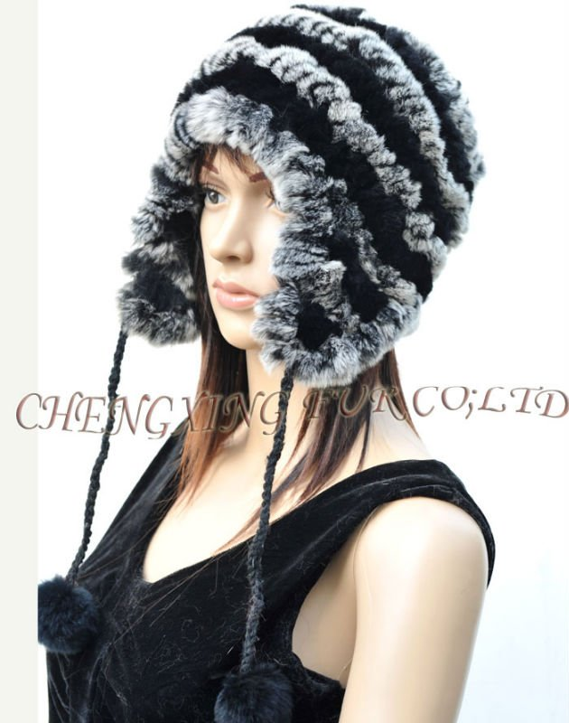 CX-C-43B Ranch Raised Rex Rabbit Fur Knit Cap