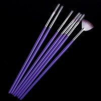 5sets/lot, фиолетовый 7pcs ногтей искусство Дизайн перо живописи dotting акриловых ногтей кистью, дропшиппинг