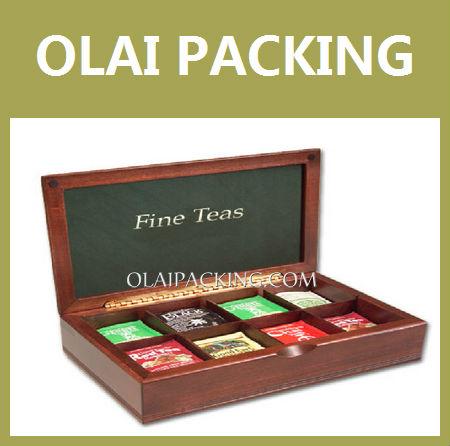 High-end PVC Window Wood Tea Bag Boxes