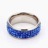 free shipping,blue color316 stainless steel ring,CZ crystals lover ring,Nickle free antiallergic factory prices,punk rings