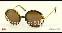 Женские солнцезащитные очки 2012 Newest Retro Style Round frame Leaf shape Alloy decoration brand sunglasses women unisex sun glasses DT0212