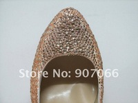 Free Shipping . Big Size Euro35-45 Hot Sales 14cm 16cm heels Genuine Leather Champagne Wedding Women Fashion Shoes 2011 PMC-1-C