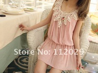 Женское платье Fashion Women's Dress Summer ladies' round collar with lace sleeveless Dresses 2012