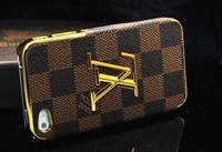 Чехол для для мобильных телефонов New Luxury Brand LOGO leather gold cover case For iphone4 4S with