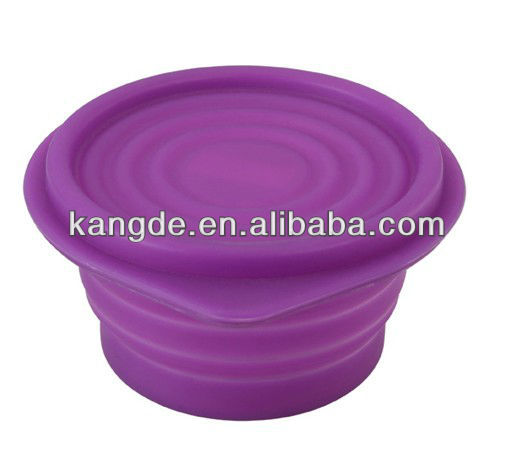 FDA& LFGB collapsible silicone travel bowl for dog,kids friendly silicone camping bowl