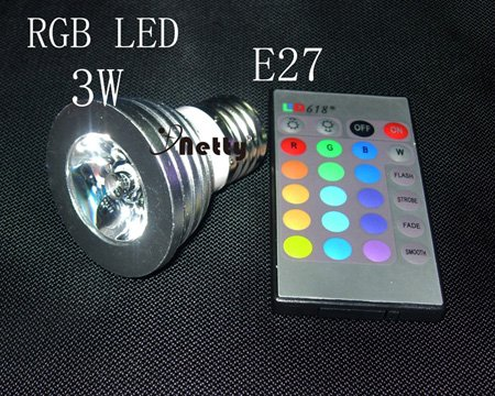 Wholesale E27 3W RGB colorful infrared remote LED lamp magic lamp spotlights 6PCS